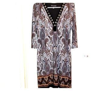 Karin stevens  sz, 10 , Dress  brown swirl pattern